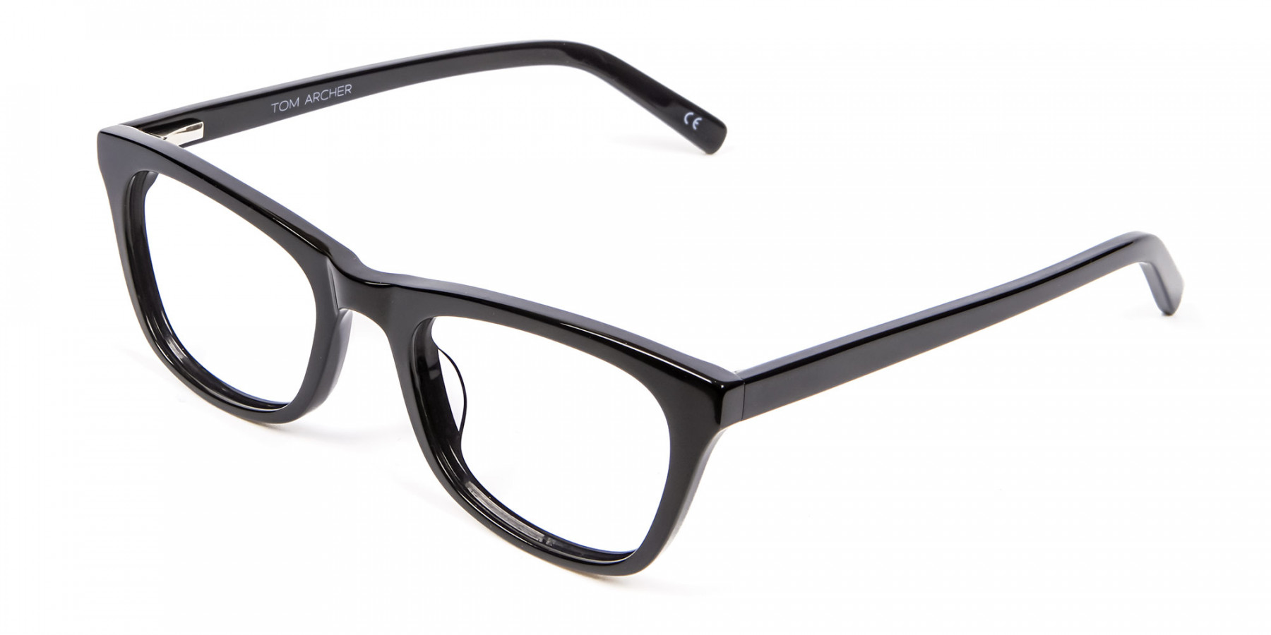 Bold Graphic Glossy Black Glasses