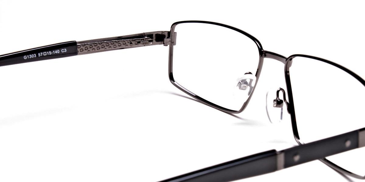 Rectangular Full-rim Black Gunmetal Frames -1