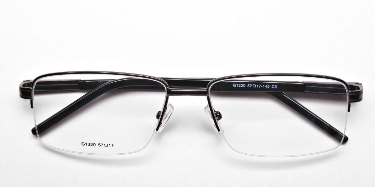 Half-Rim Black Gunmetal Frames - 1