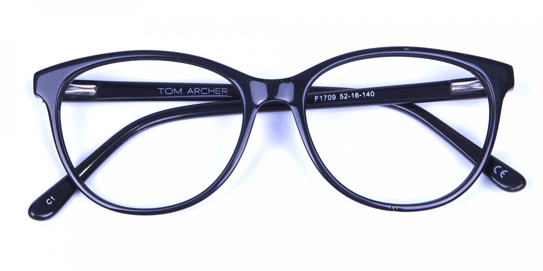 Smooth Curved Black Round Cat Eye Glasses