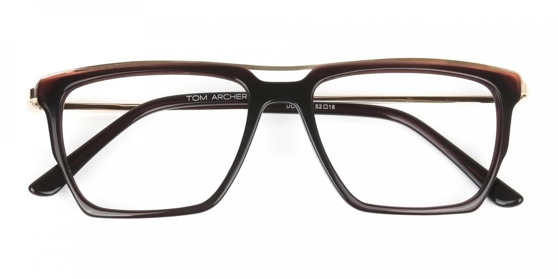 Dark Brown & Gold Double Bridge Glasses  - 1