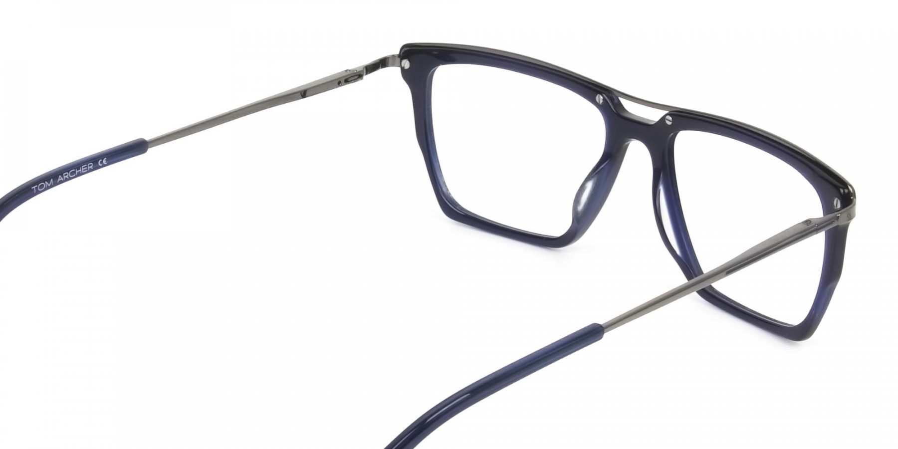 Mixed Material Glasses in Gunmetal Navy Blue - 1