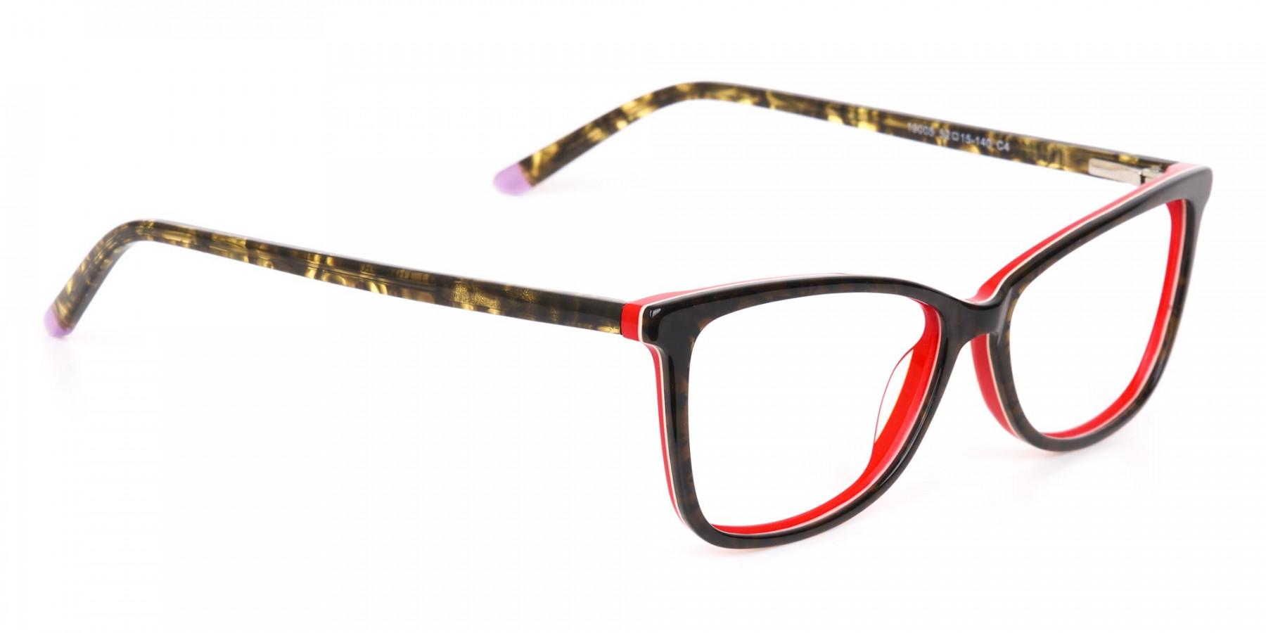 Dark Green Tortoise & Red Cat Eye Glasses Women-1