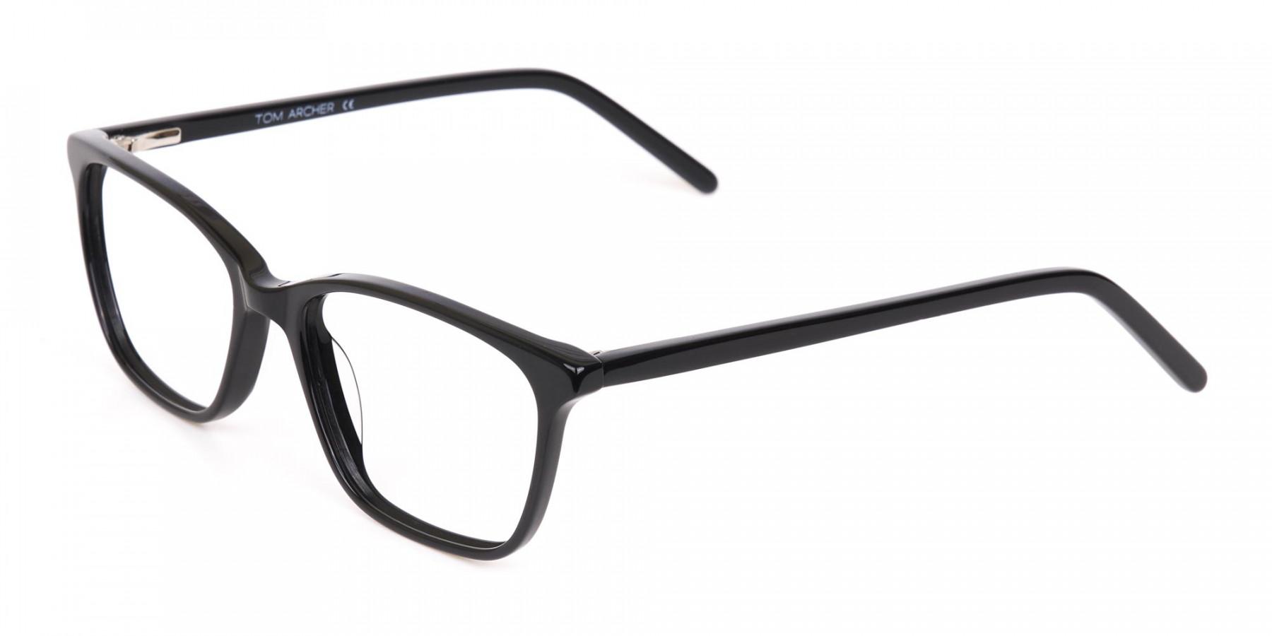 Black Rectangular Acetate Eyeglasses Unisex-1