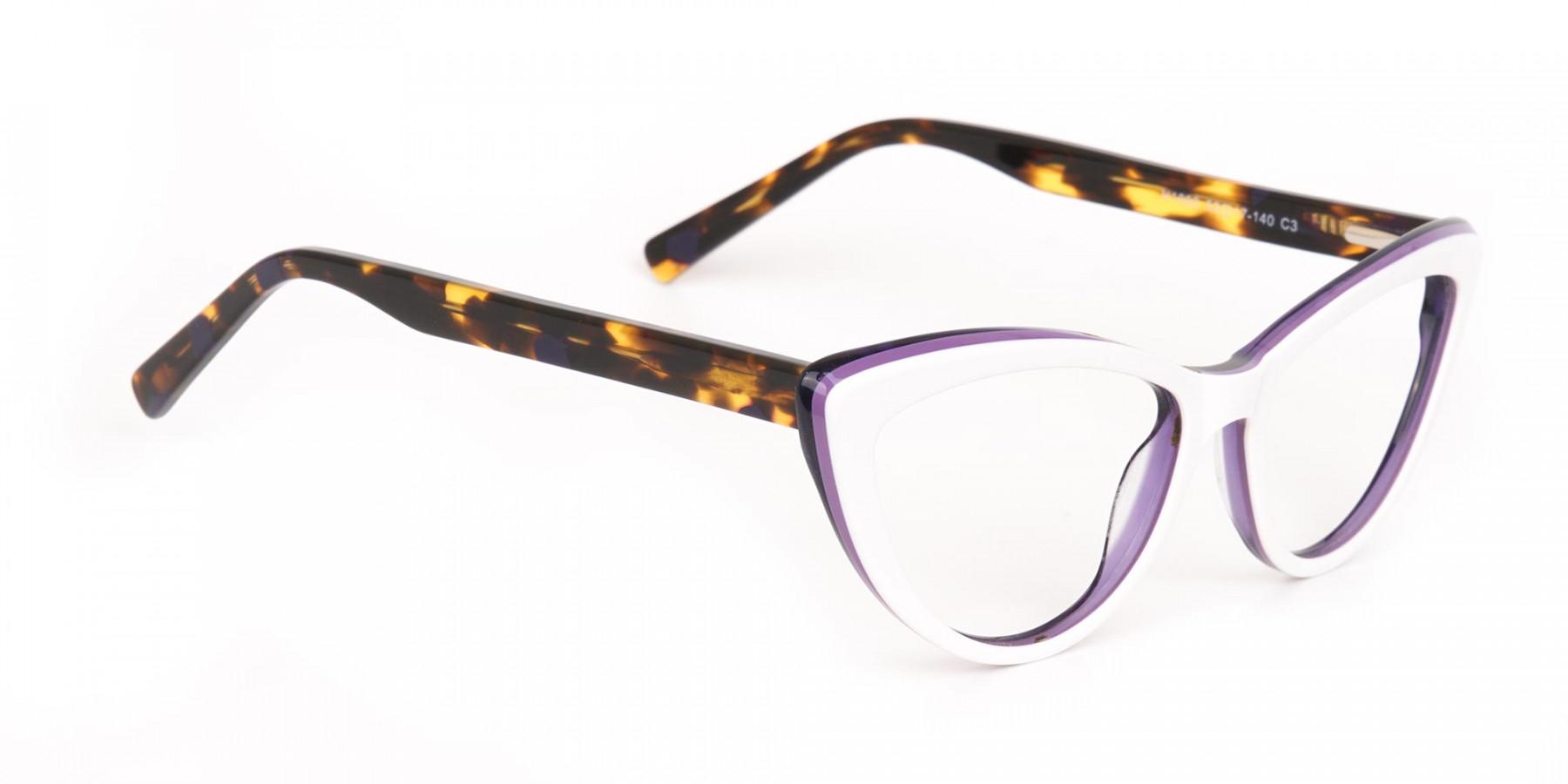 Daisy White & Violet Purple Tortoise Cat Eyeglasses Women-1