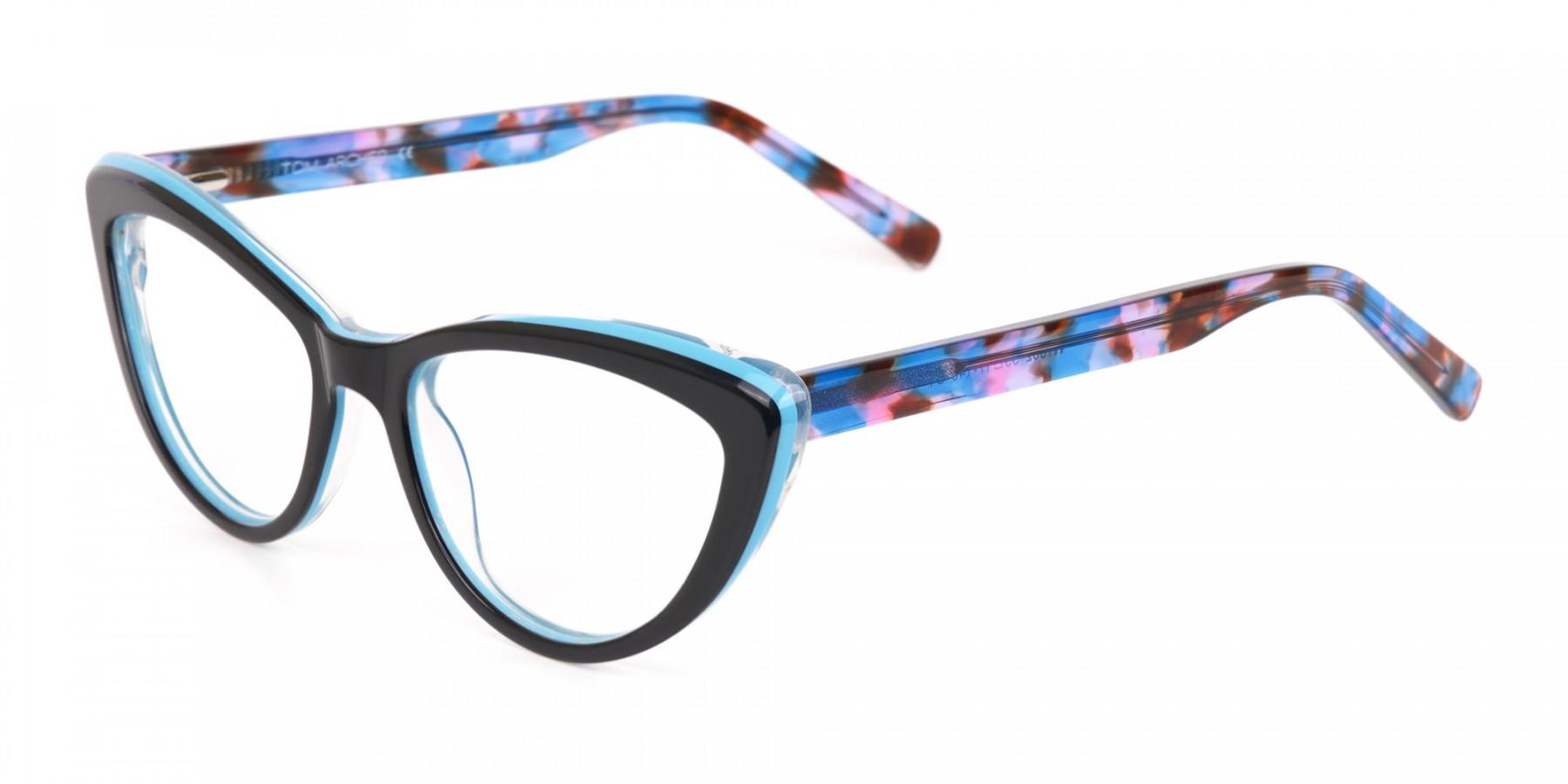 Black & Blue, Purple tortoise Cat eyeglasses Women-1