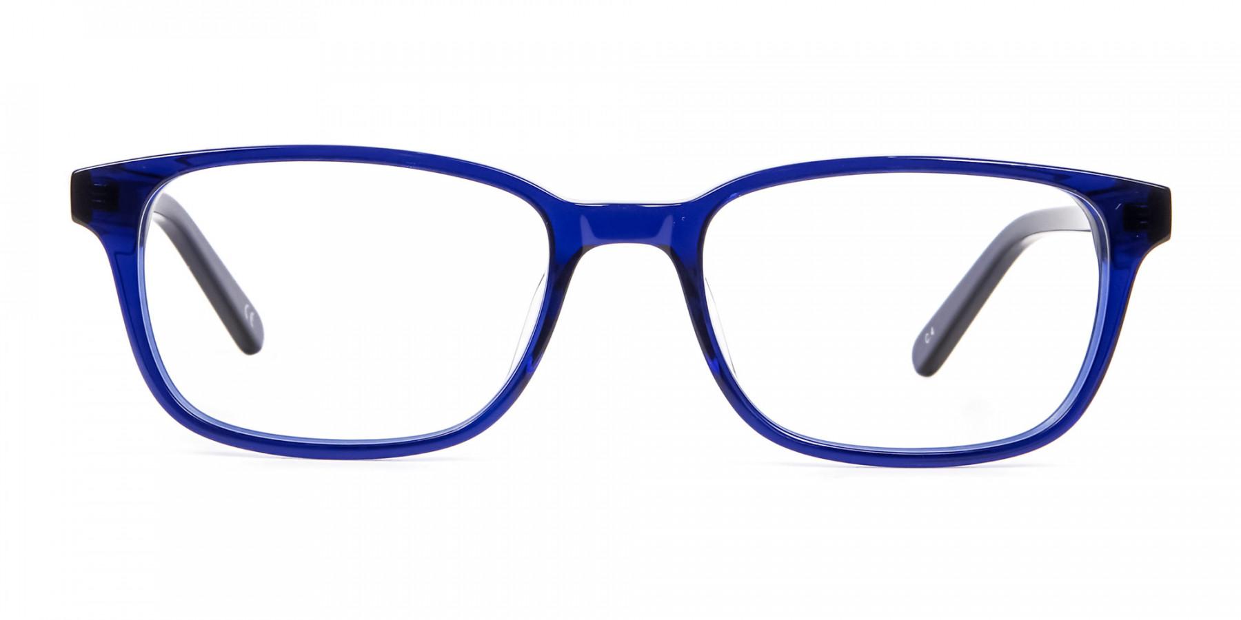 Men's and Women's Blue Rectangular Glasses