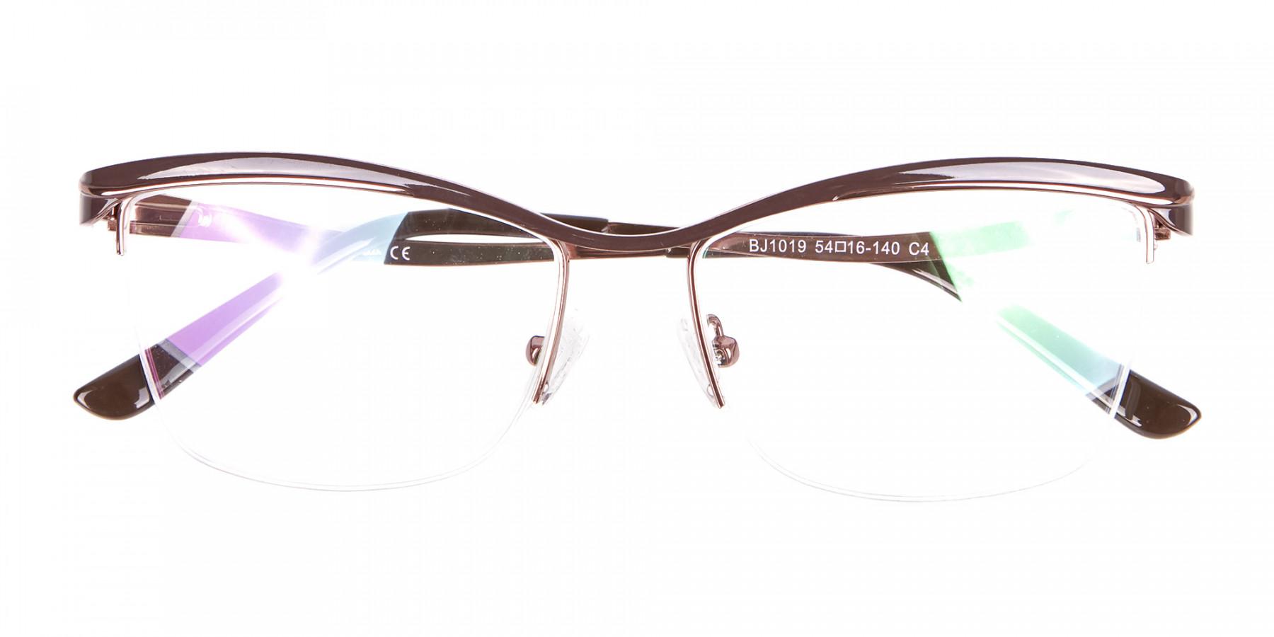Glossy Brown Browline Half-Rimmed Glasses-1
