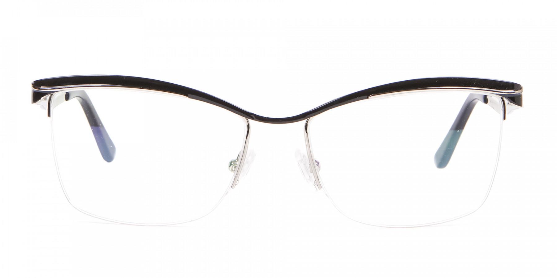 Woman Black Half-Rimmed Designer Glasses UK-1