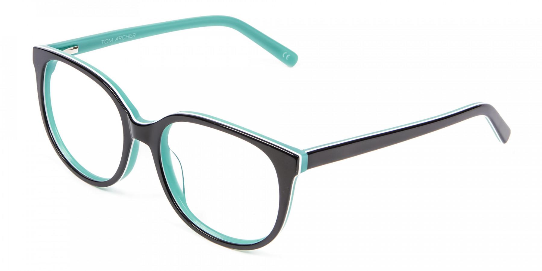 Wayfarer-Cateye Frame in Black and Mint Green