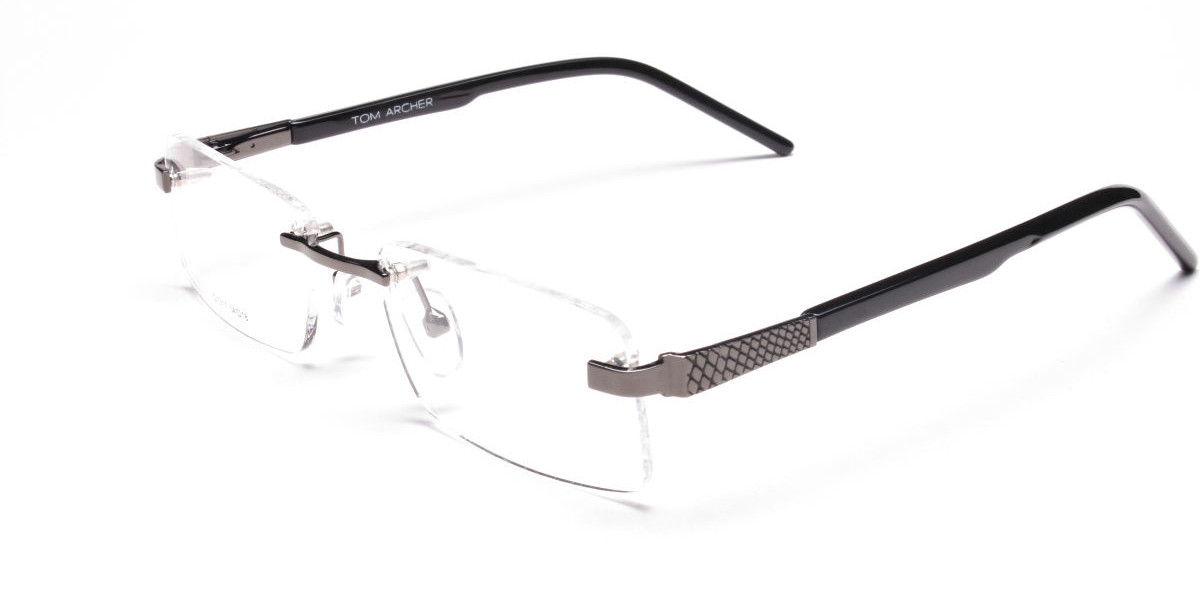 Rimless Glasses in Gunmetal with a Touch of Crocodile-1