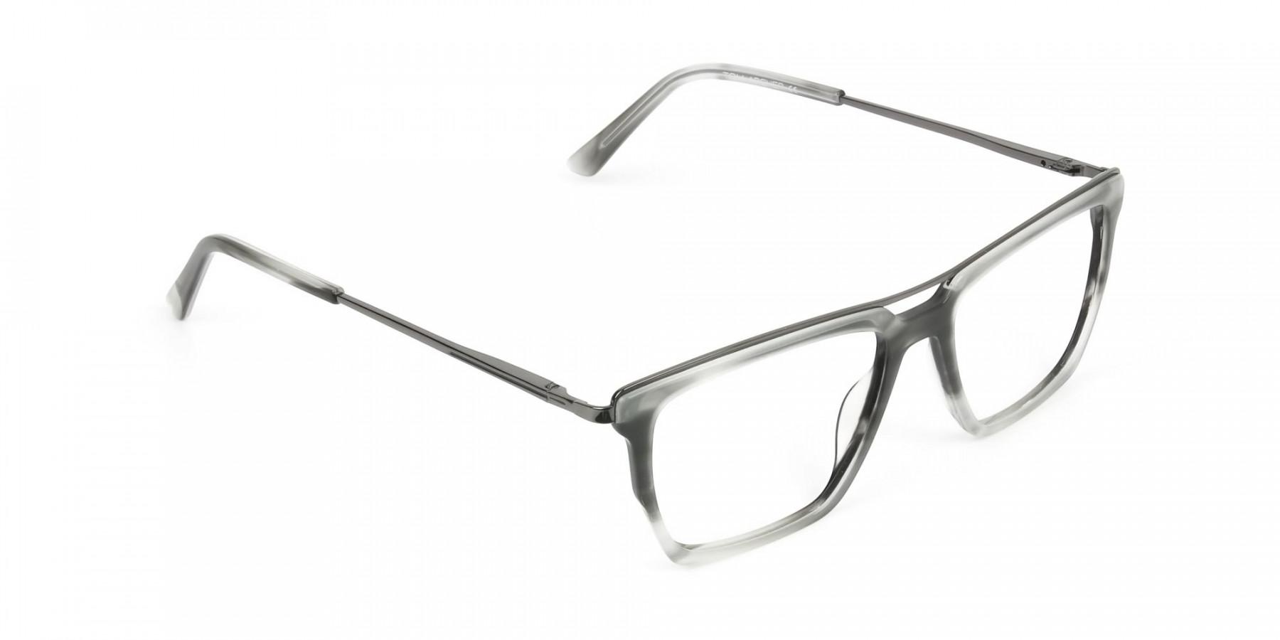 Gunmetal & Marble Grey Double Bridge Glasses - 1