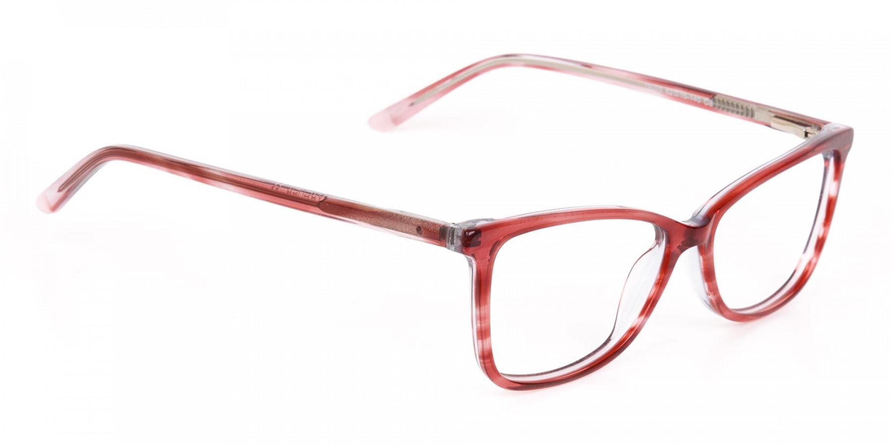 Translucent Rose Red Cat Eye Glasses Women-1
