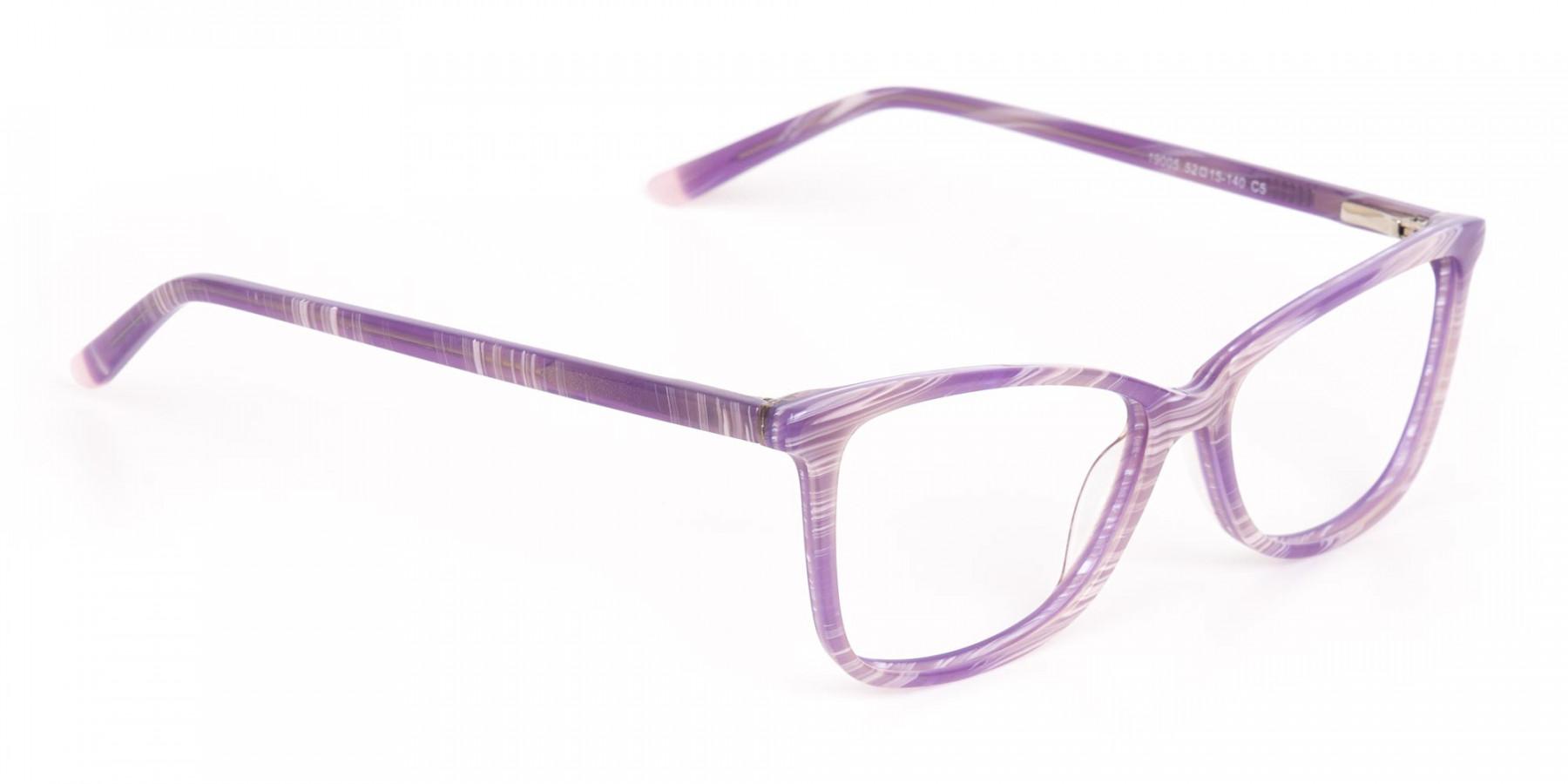 Purple Cat Eye Glasses with Lavender Stripes-1