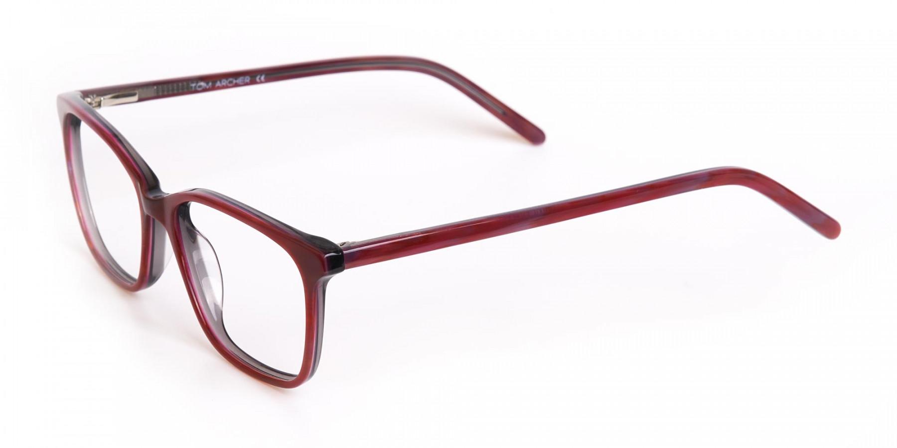 Rose Red Rectangular Acetate Eyeglasses Women-1