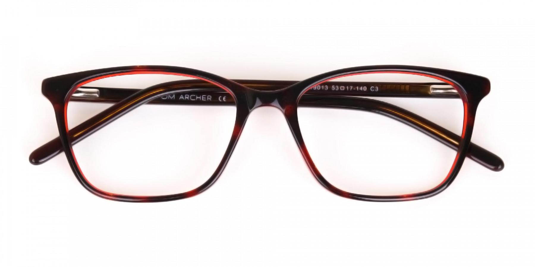 Dark Cherry Red Rectangular Glasses Frame Women-1