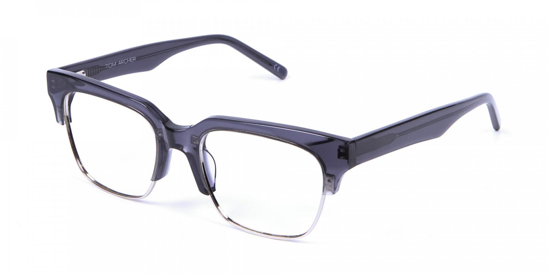 Silver Grey Browline Glasses