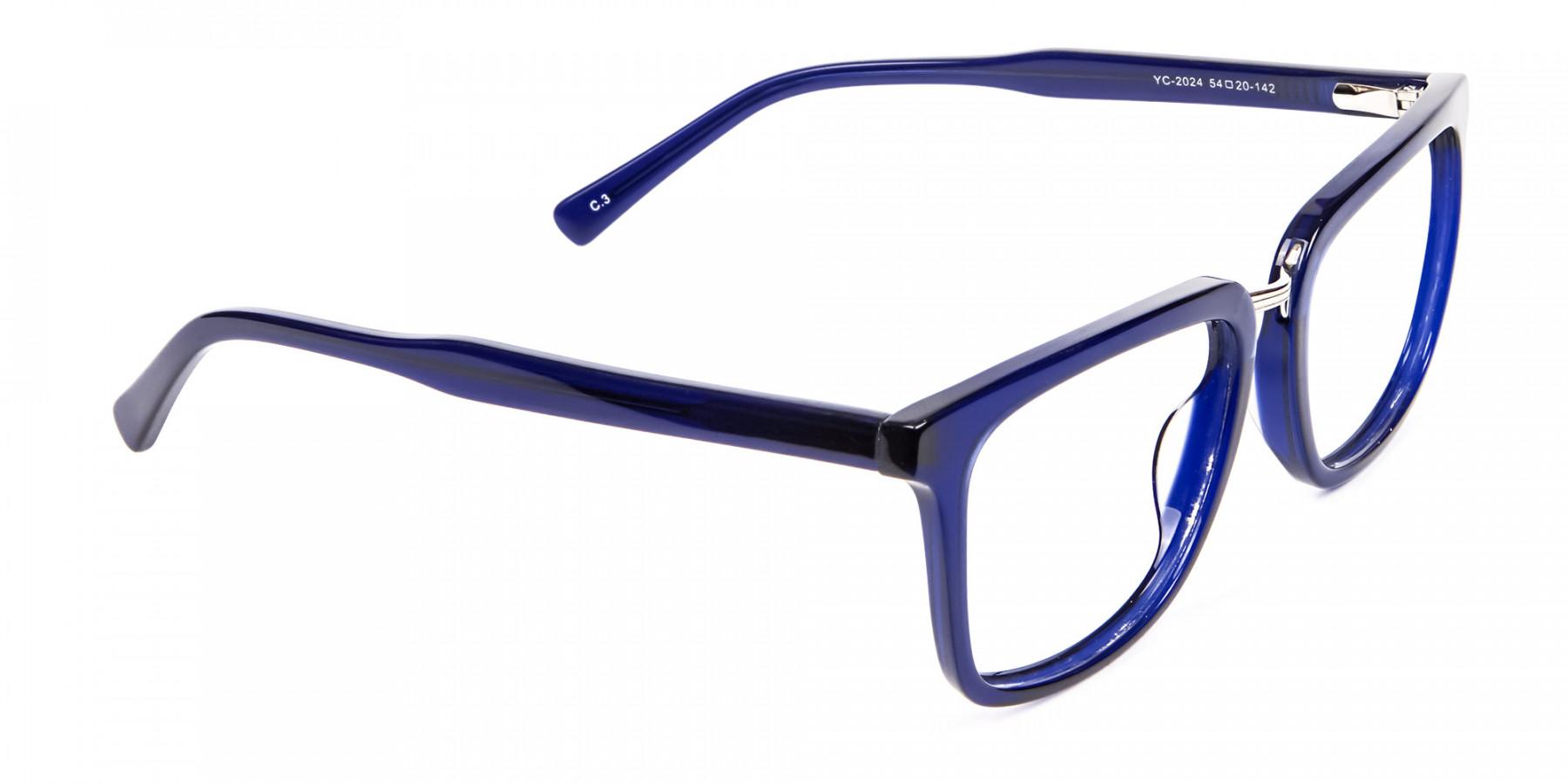 Navy Blue Rectangular Glasses -1