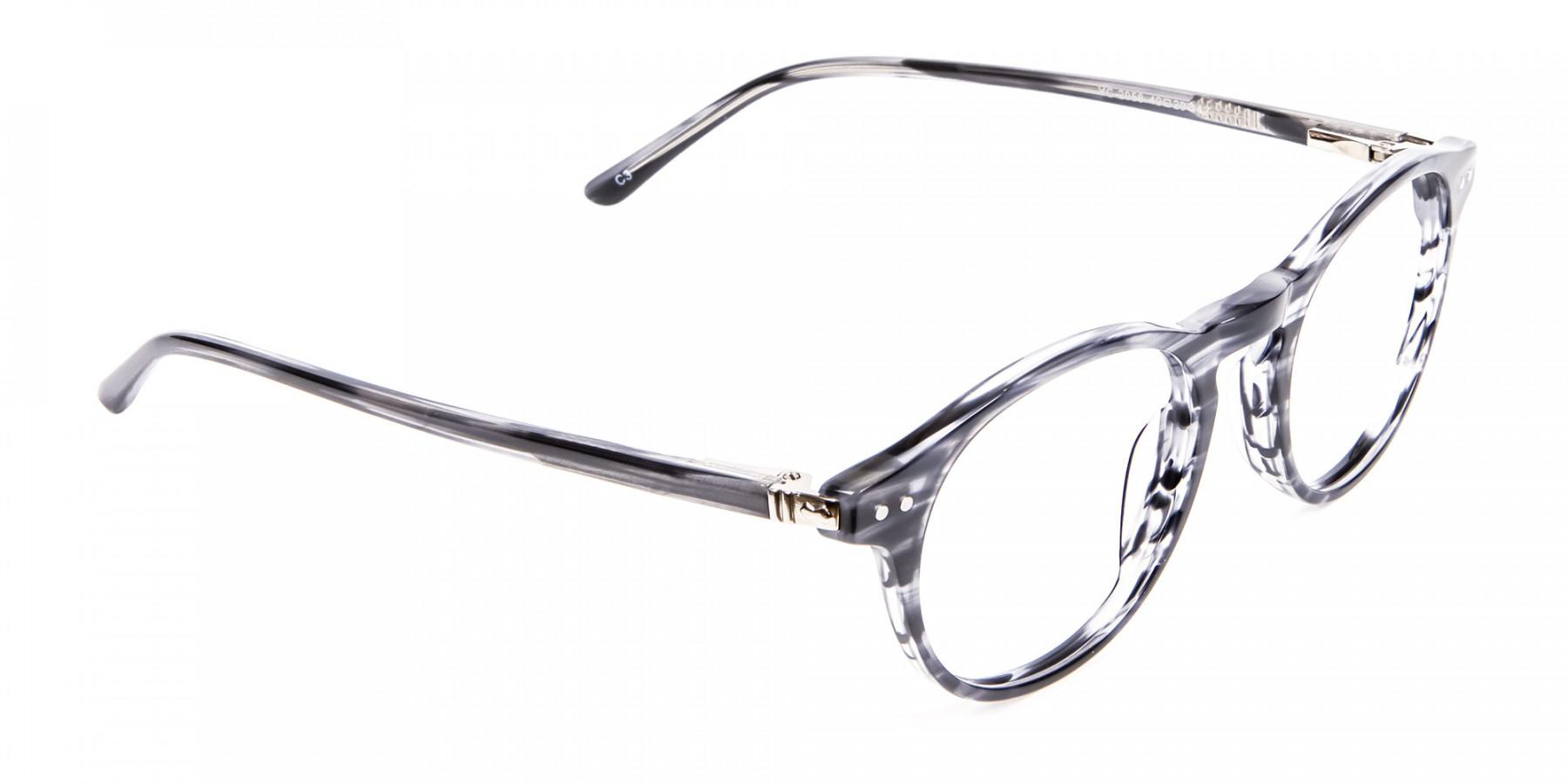 Classic Round Silver Grey Glasses