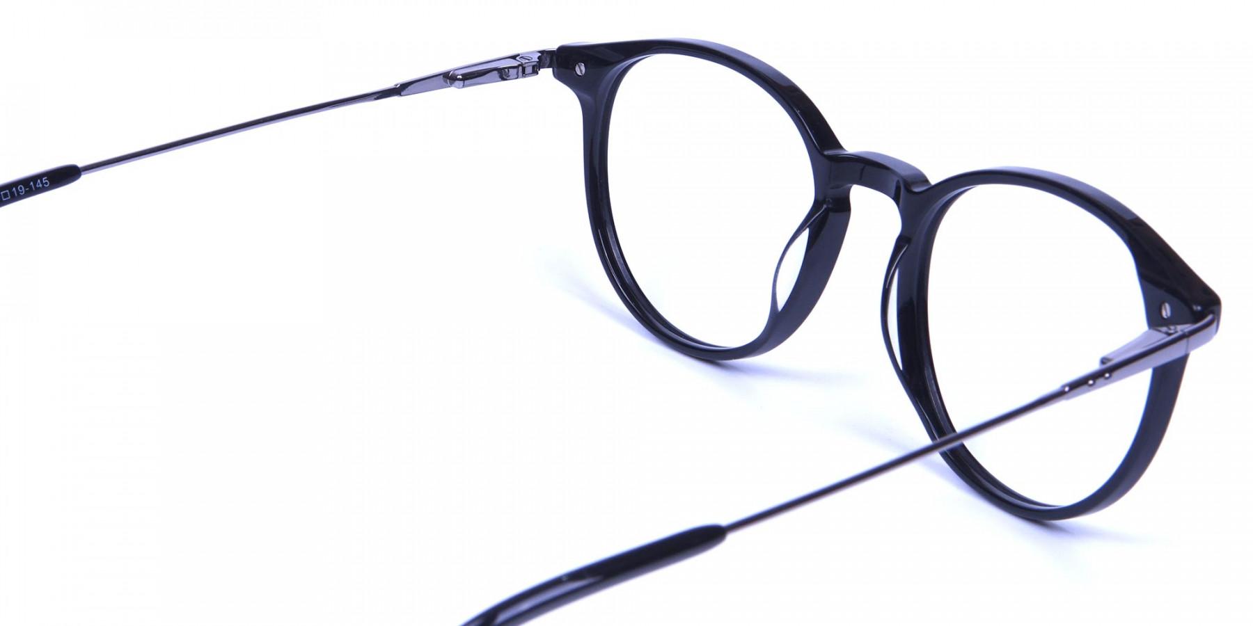 Black Round Frames with Gunmetal Sides