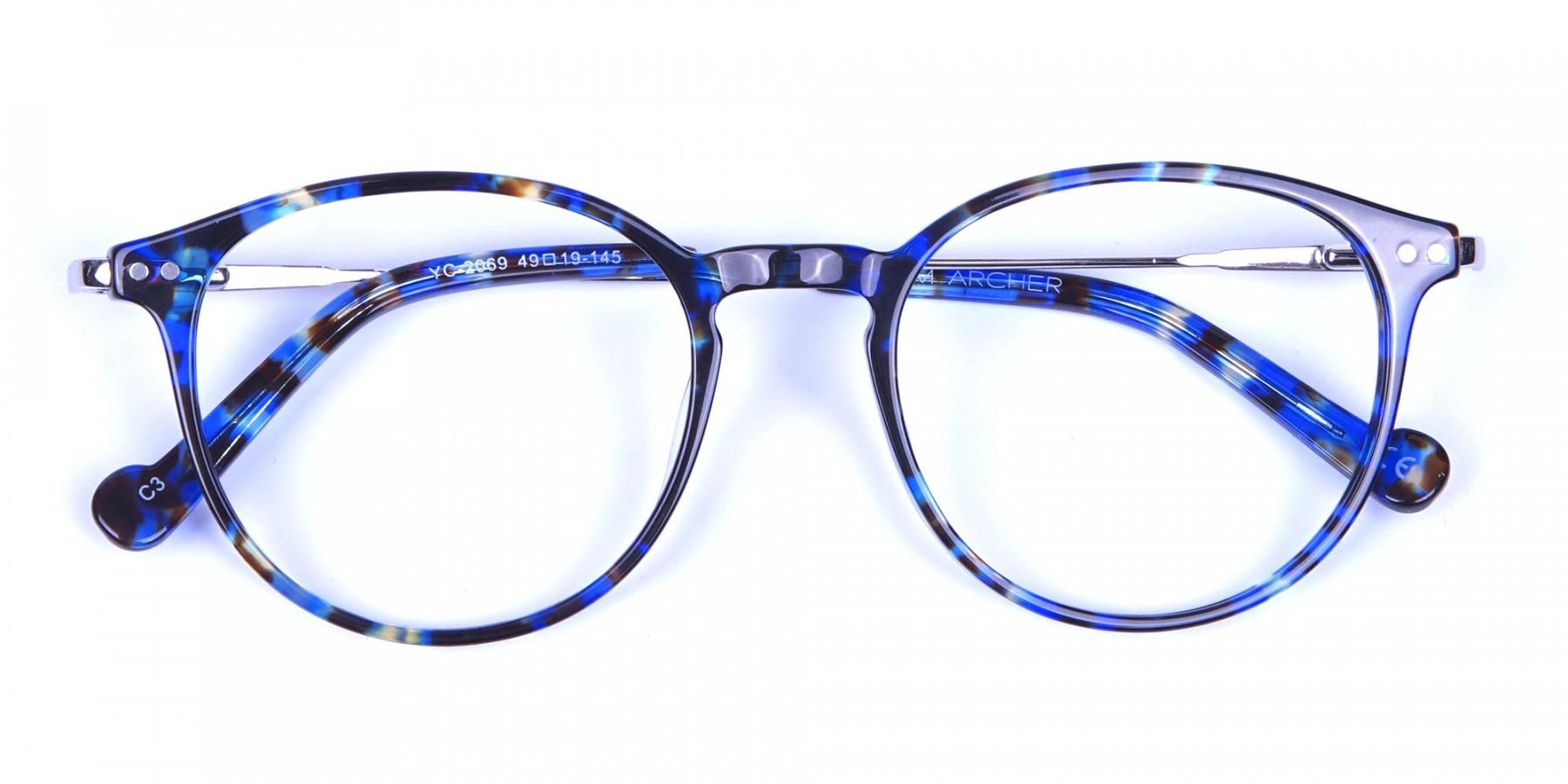 Ocean Blue Tortoise Glasses in Round