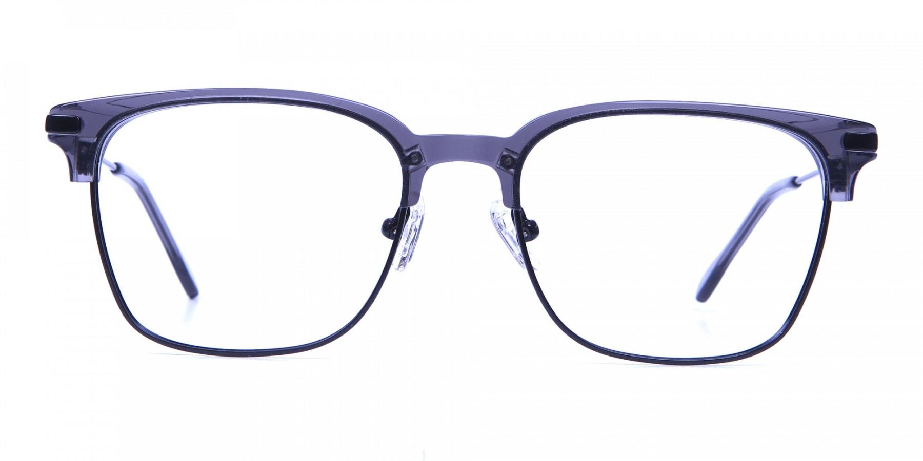 Transparent Grey Browline Glasses