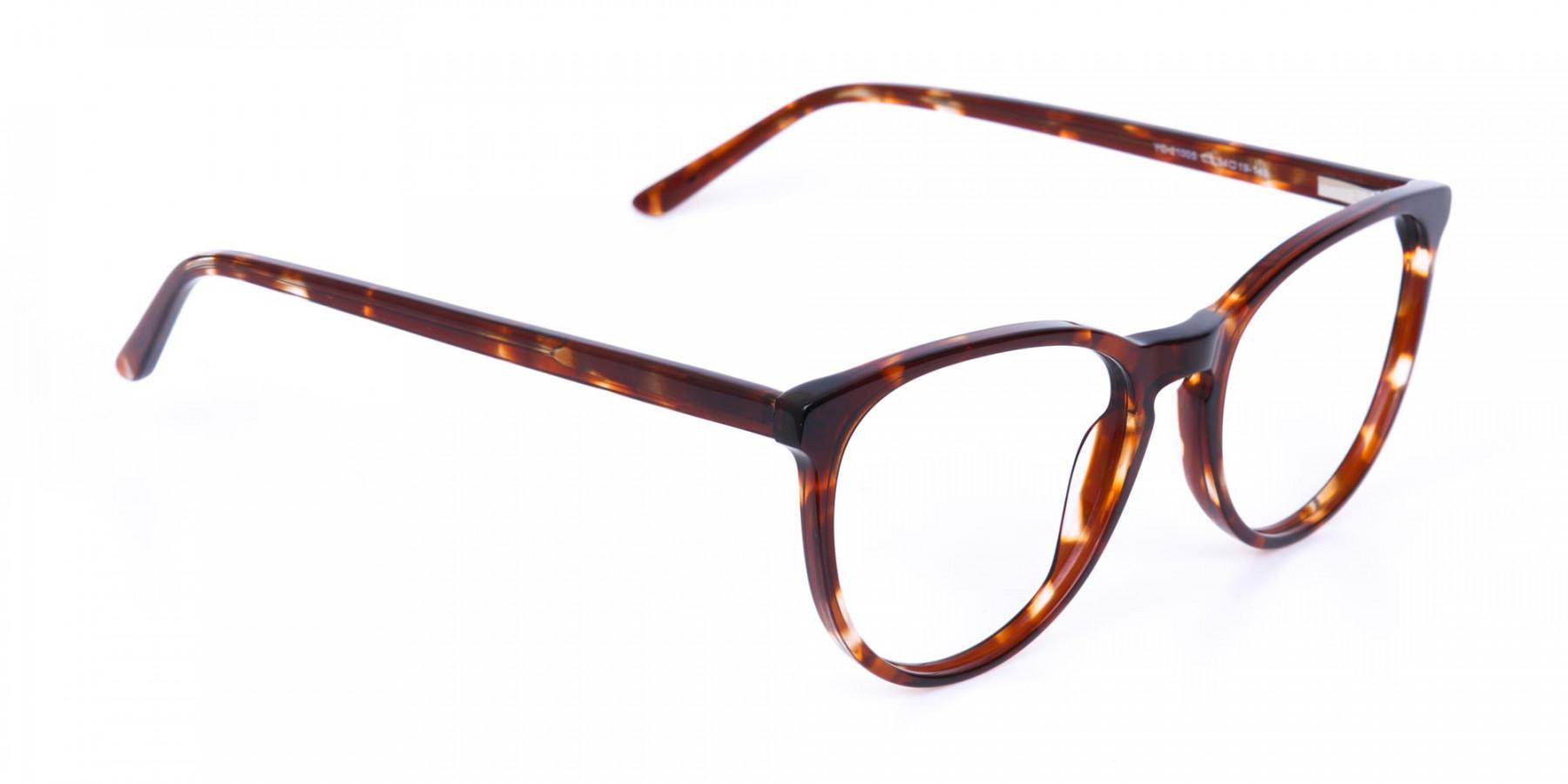 Tortoise Acetate Round Eyeglasses Unisex-1