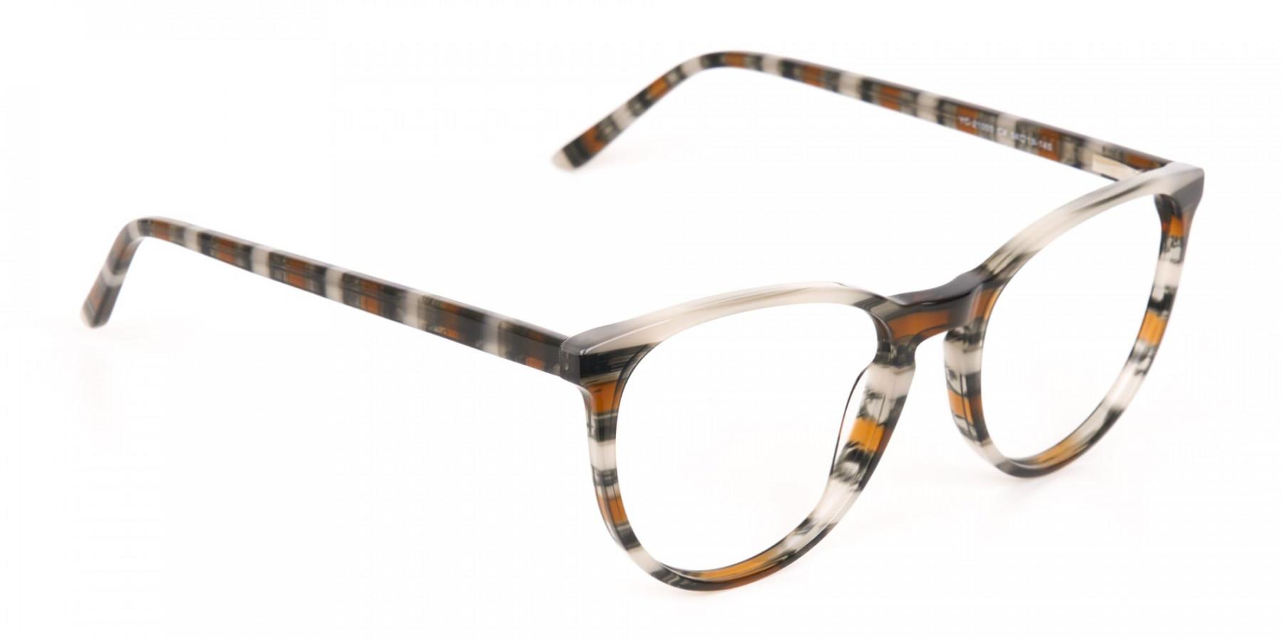 Silver Grey & Brown Stripe Round Eyeglasses-1