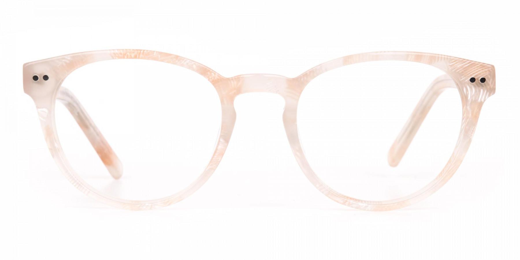 Brown Translucent Nude & Stripe round Glasses-1
