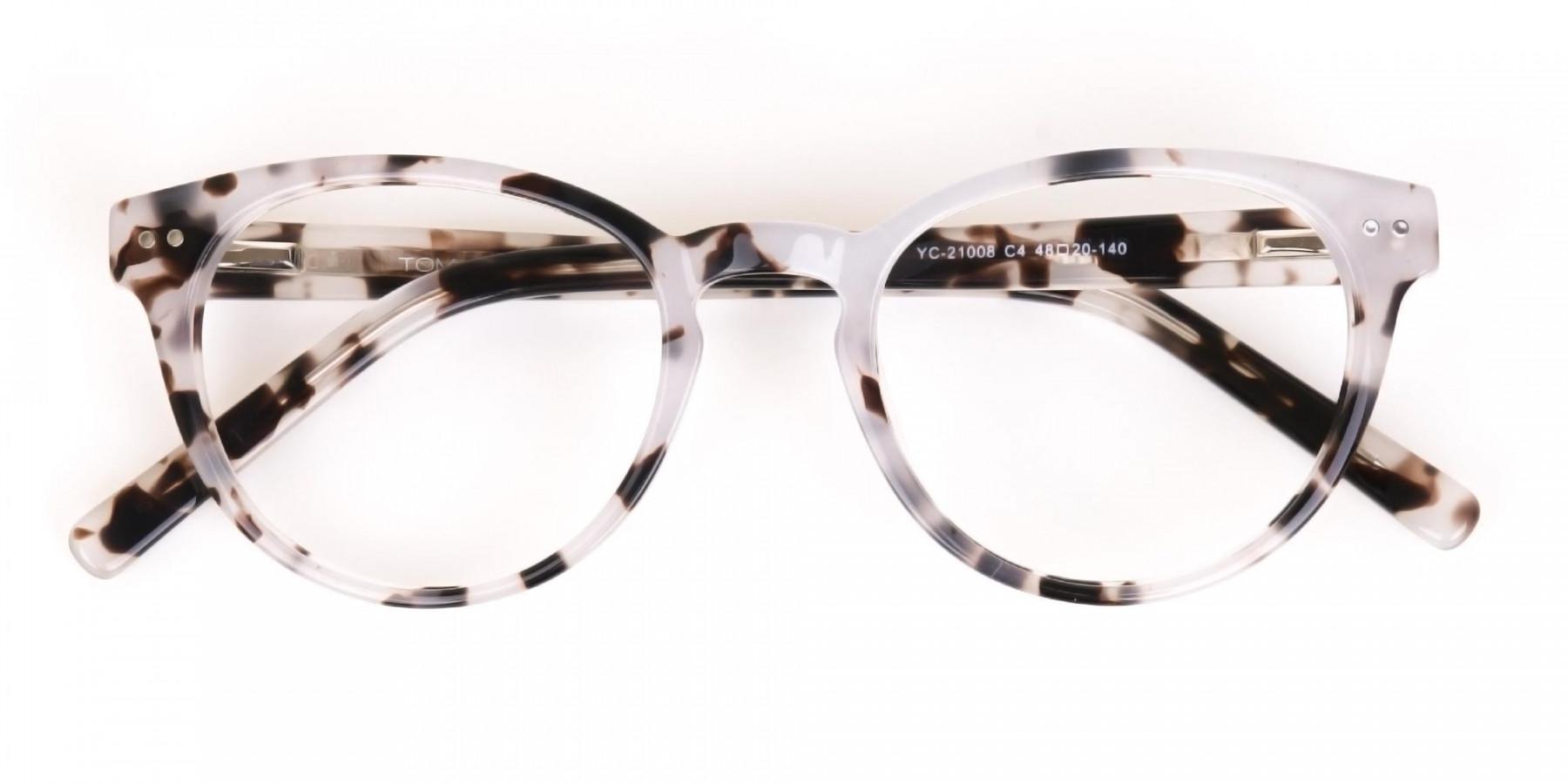 Marble Grey Round Acetate Eyeglasses Unisex-1