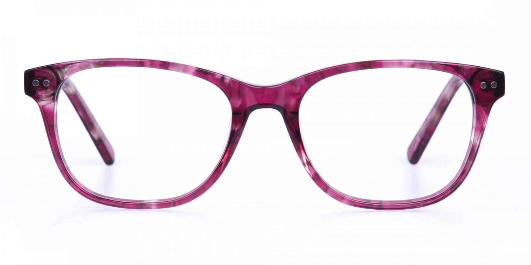 Rose Pink Marble Acetate Rectangular Glasses-1
