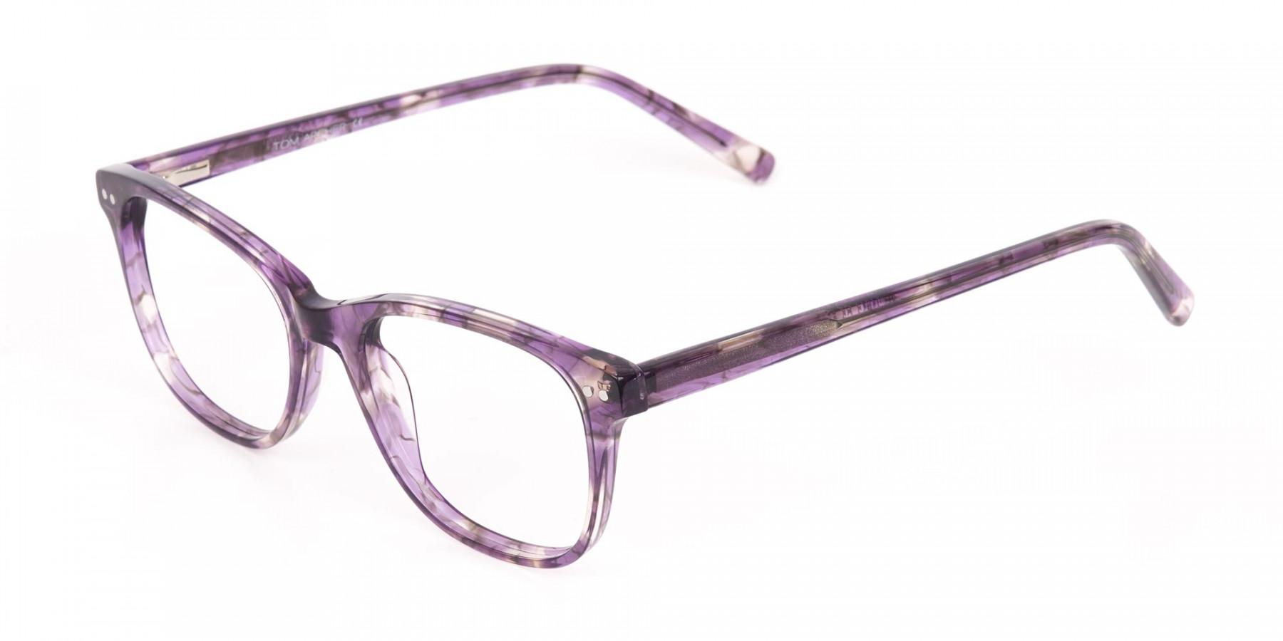 Violet Purple Marble Acetate Rectangle Glasses-1
