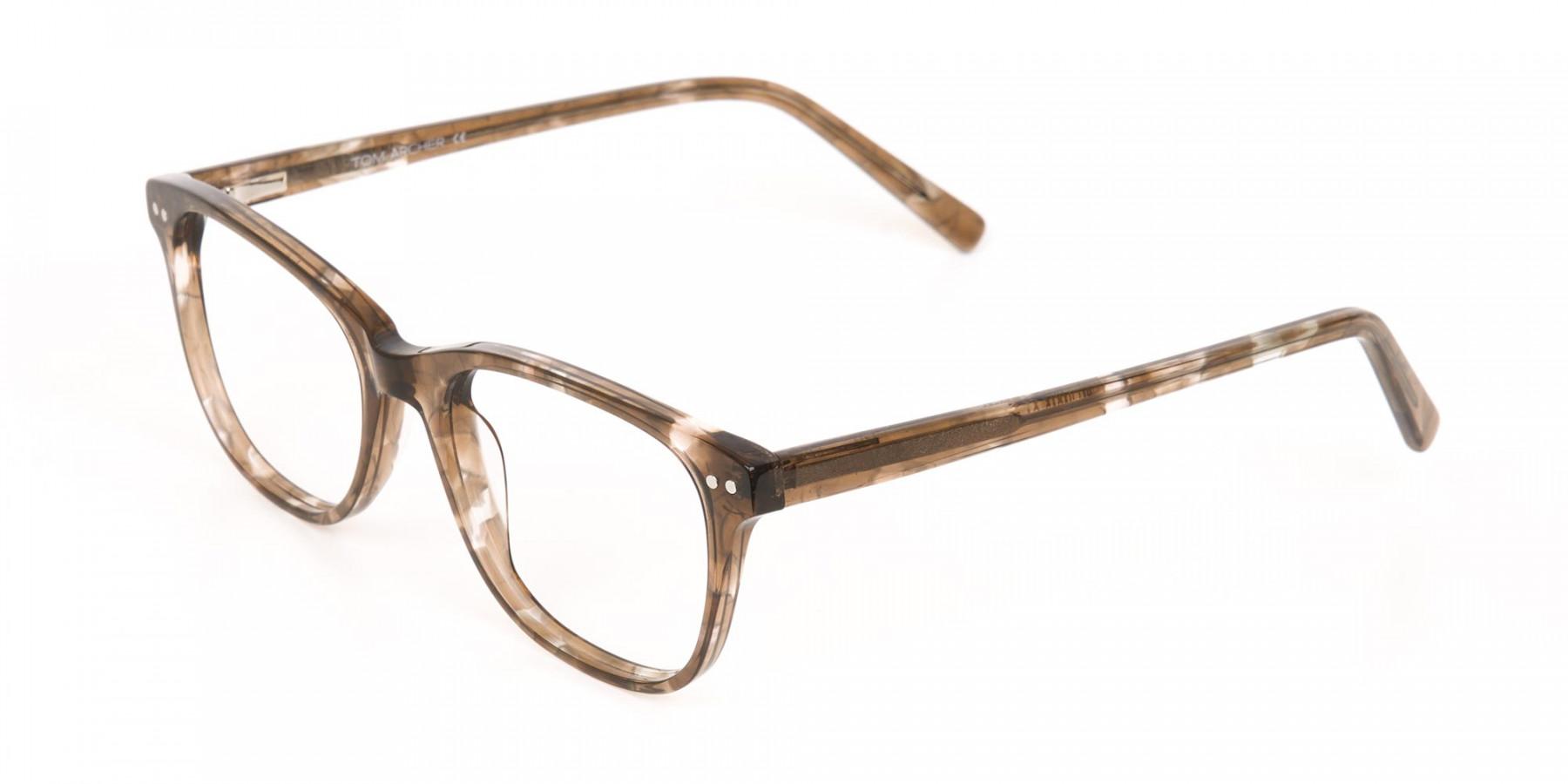 Beige Tortoise Acetate Rectangle Glasses Unisex-1