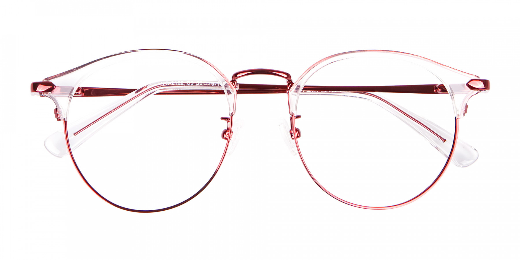 New Browline Round in Crystal & Red-1