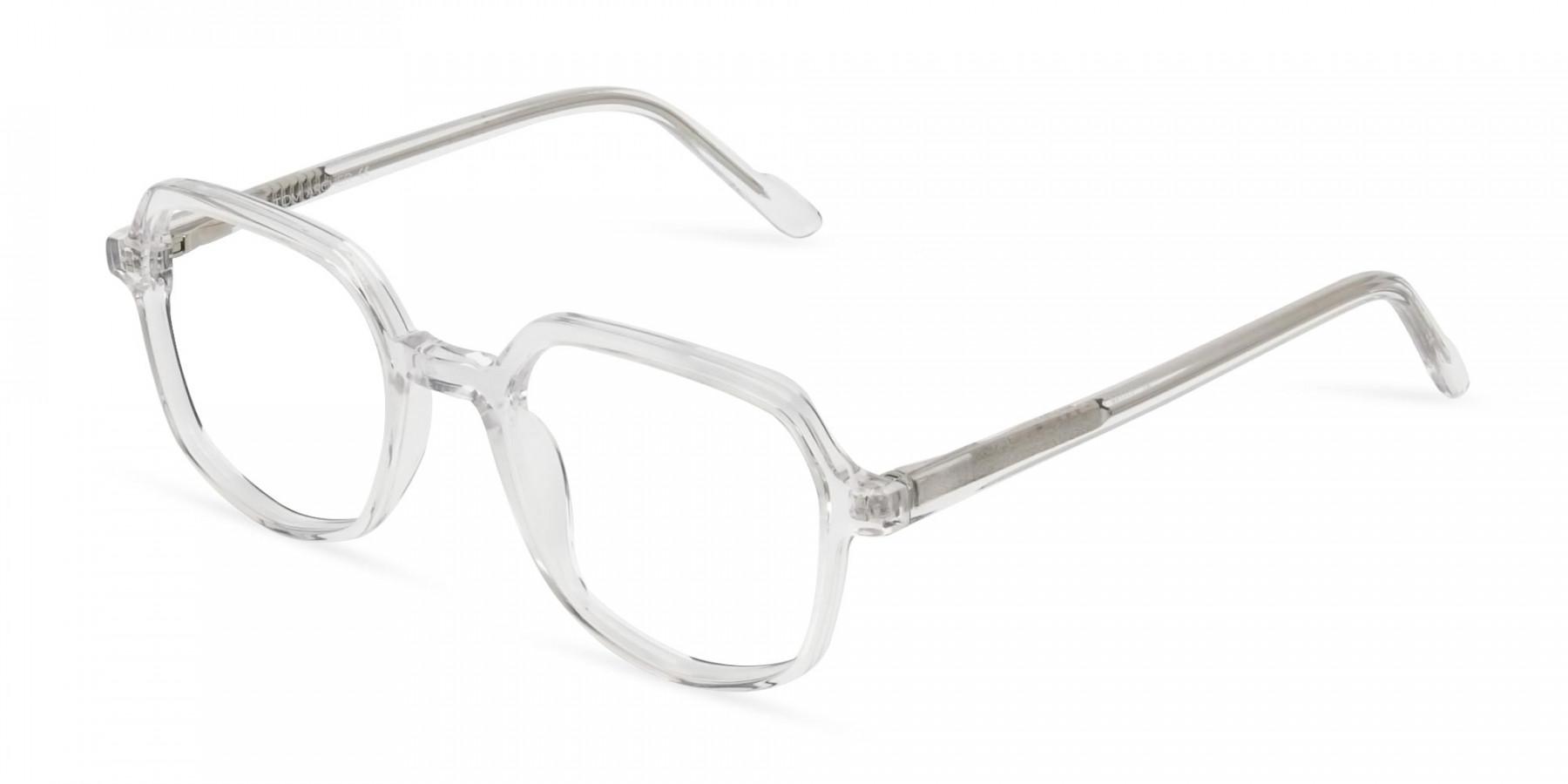 Transparent Geometric Heptagon Glasses - 1