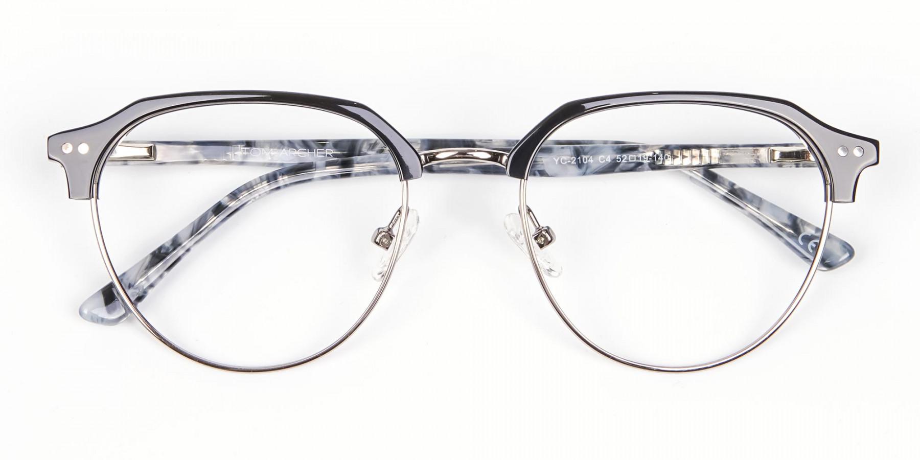 Metal Frame Browline Glasses - 1