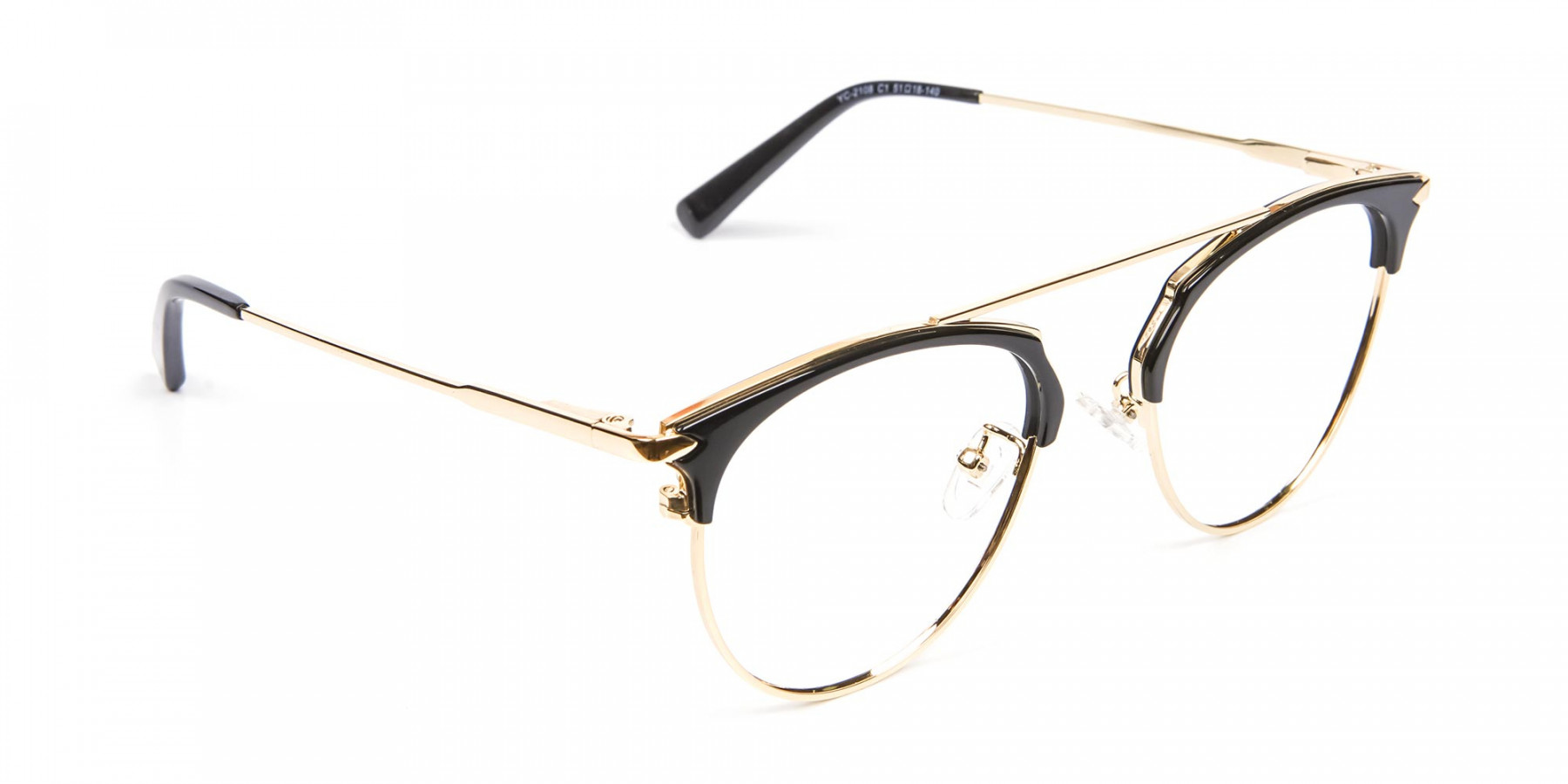 Black and Gold No-Nose Bridged Glasses
