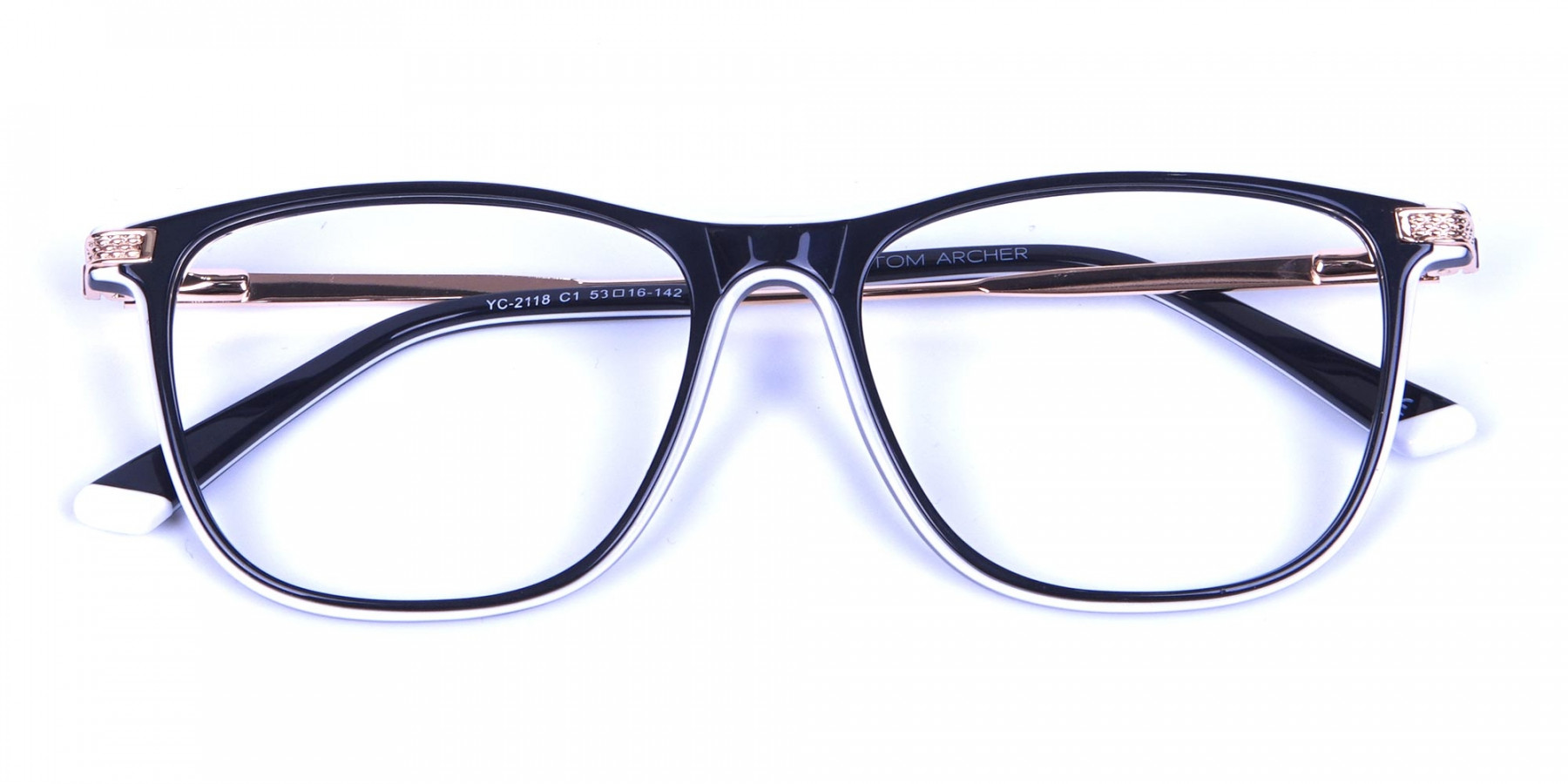 Black & White with Gold Arm Frames