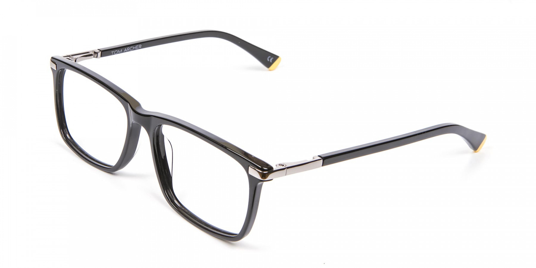 Black Rectangular Glasses with Yellow Accent - 1