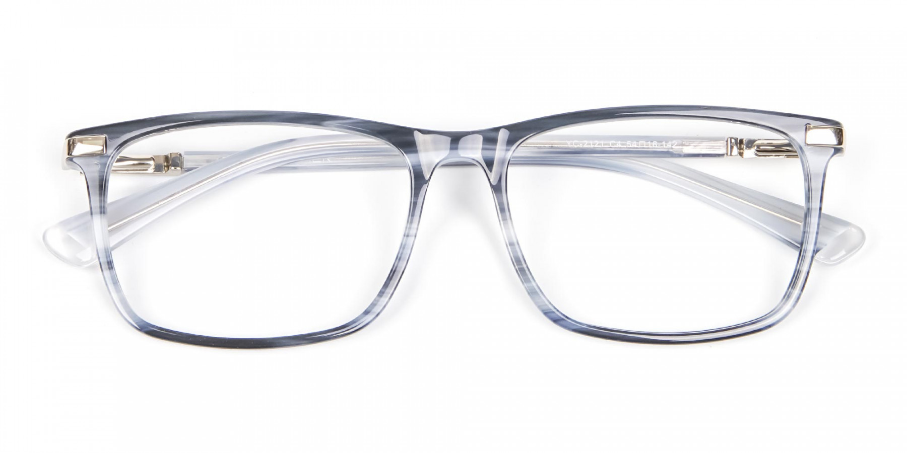 Rectangular Glasses in Grey and Blue - 1