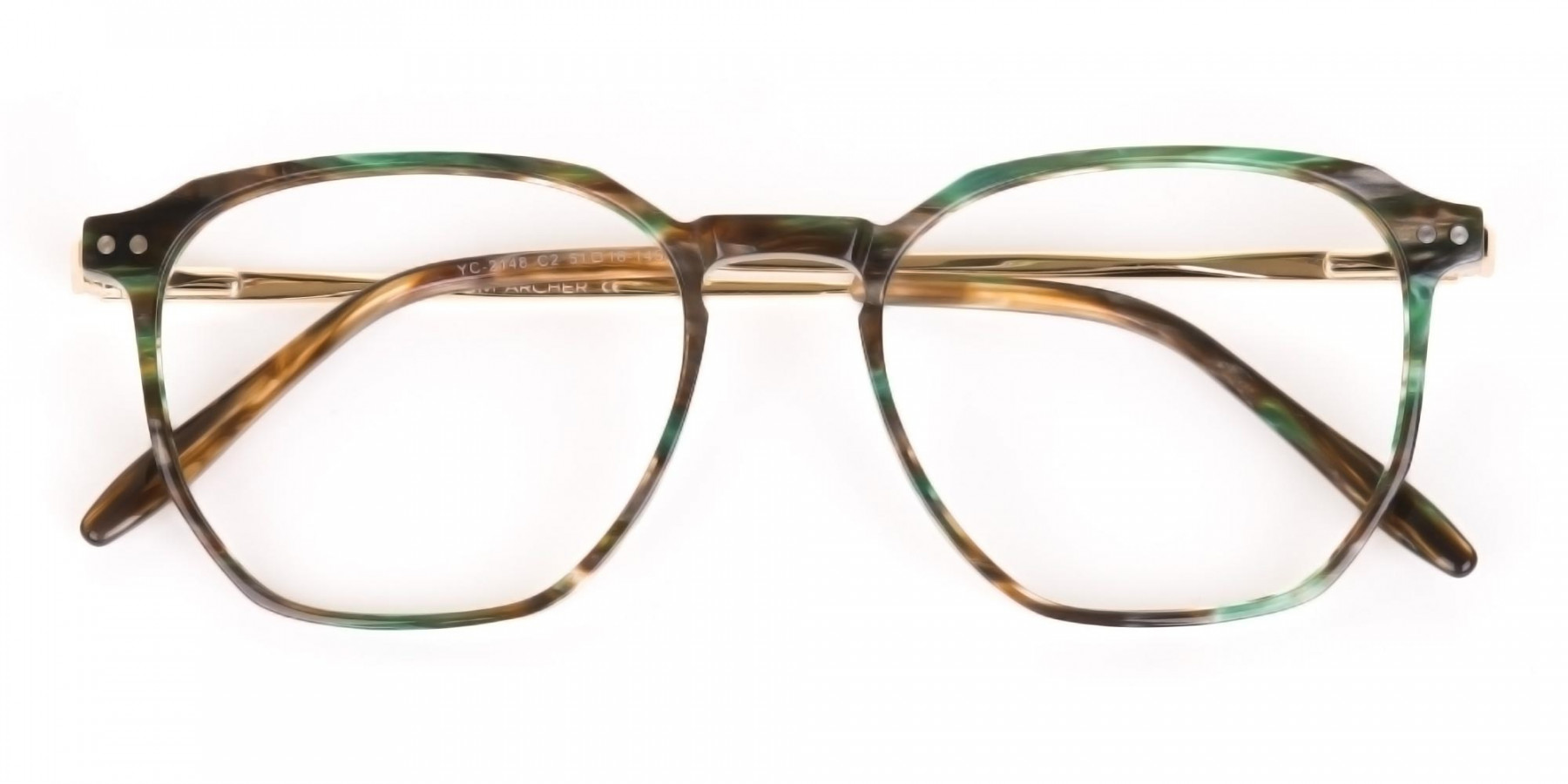 Jade Green & Brown, Gold Geometric Glasses-1