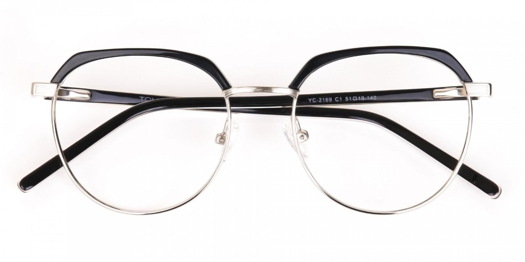 Black Silver Browline Glasses in Metal Unisex-1