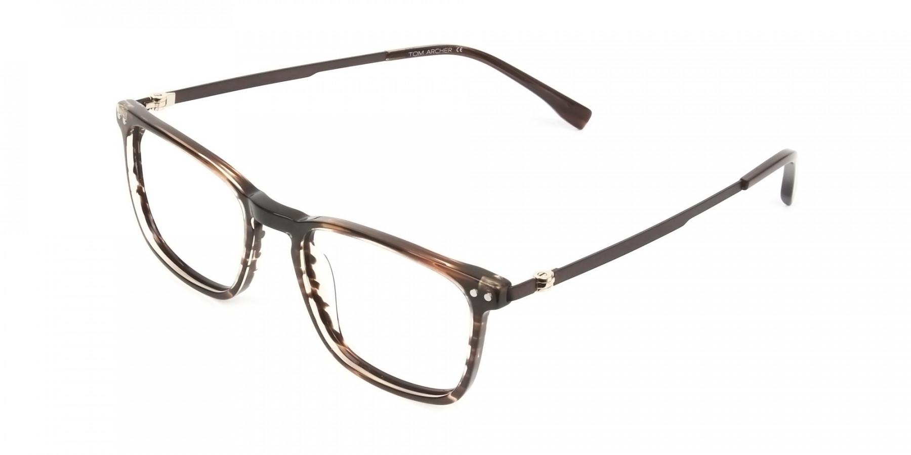 Rectangular Hazelnut Brown Designer Striped Eyeglasses - 1