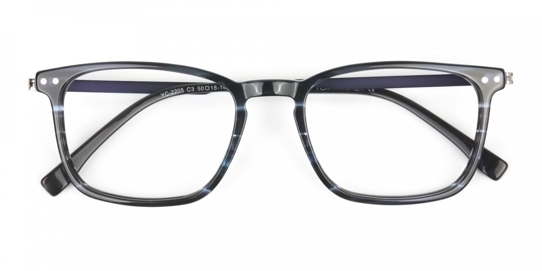 Rectangular Striped Ocean Blue Stripe Ocean Blue Glasses - 1
