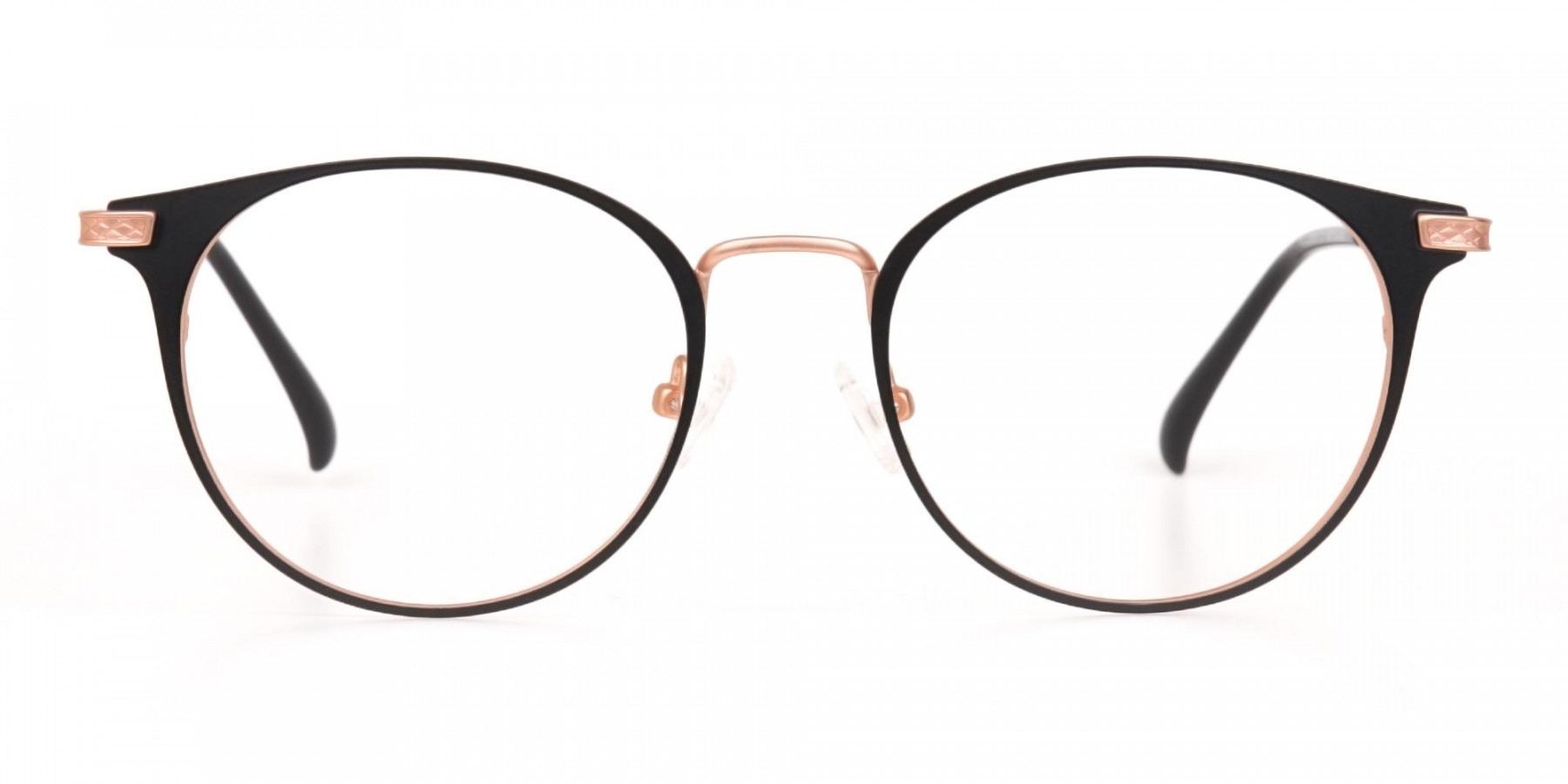 Matte Black & Rose Gold Round Glasses Women-1