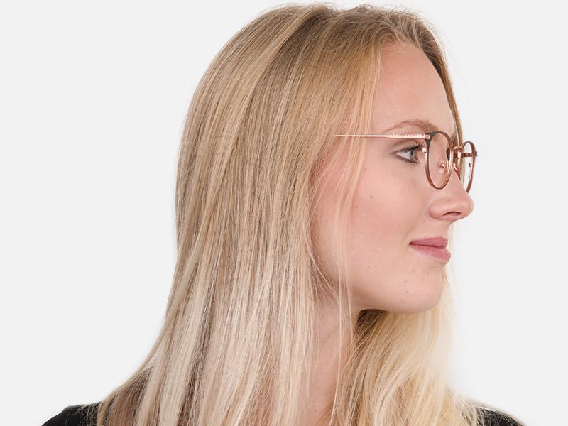 Matte Black & Rose Gold Round Glasses Women-1