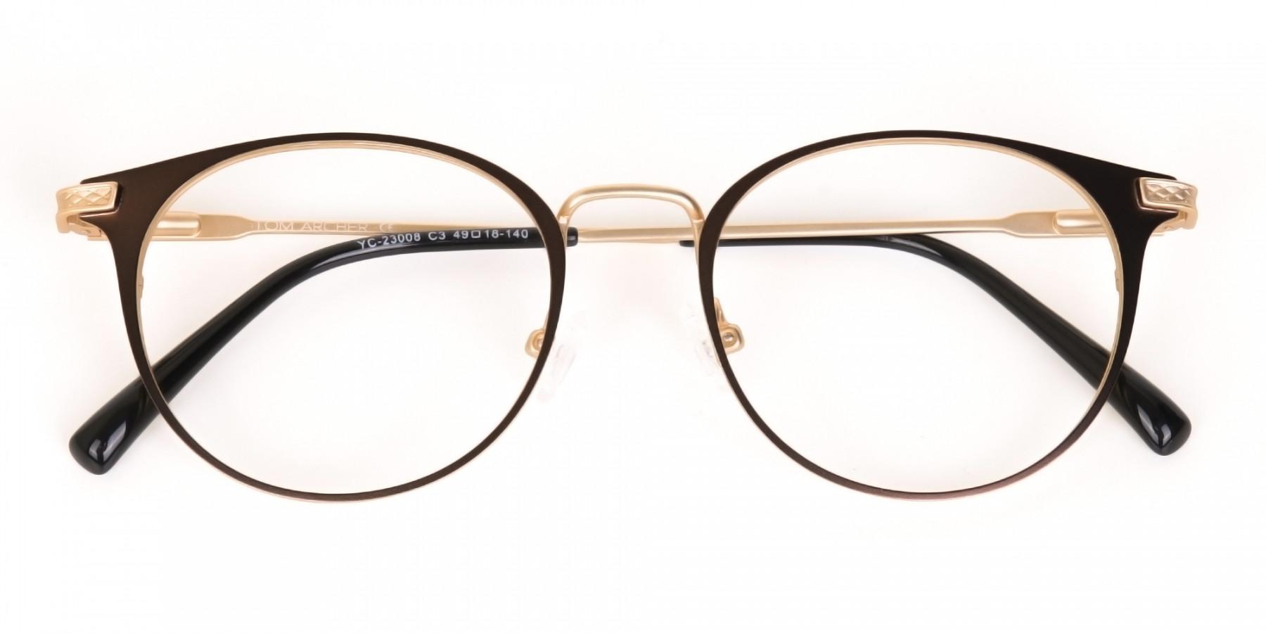 Dark Mocha Brown and Gold Round Glasses Unisex-1