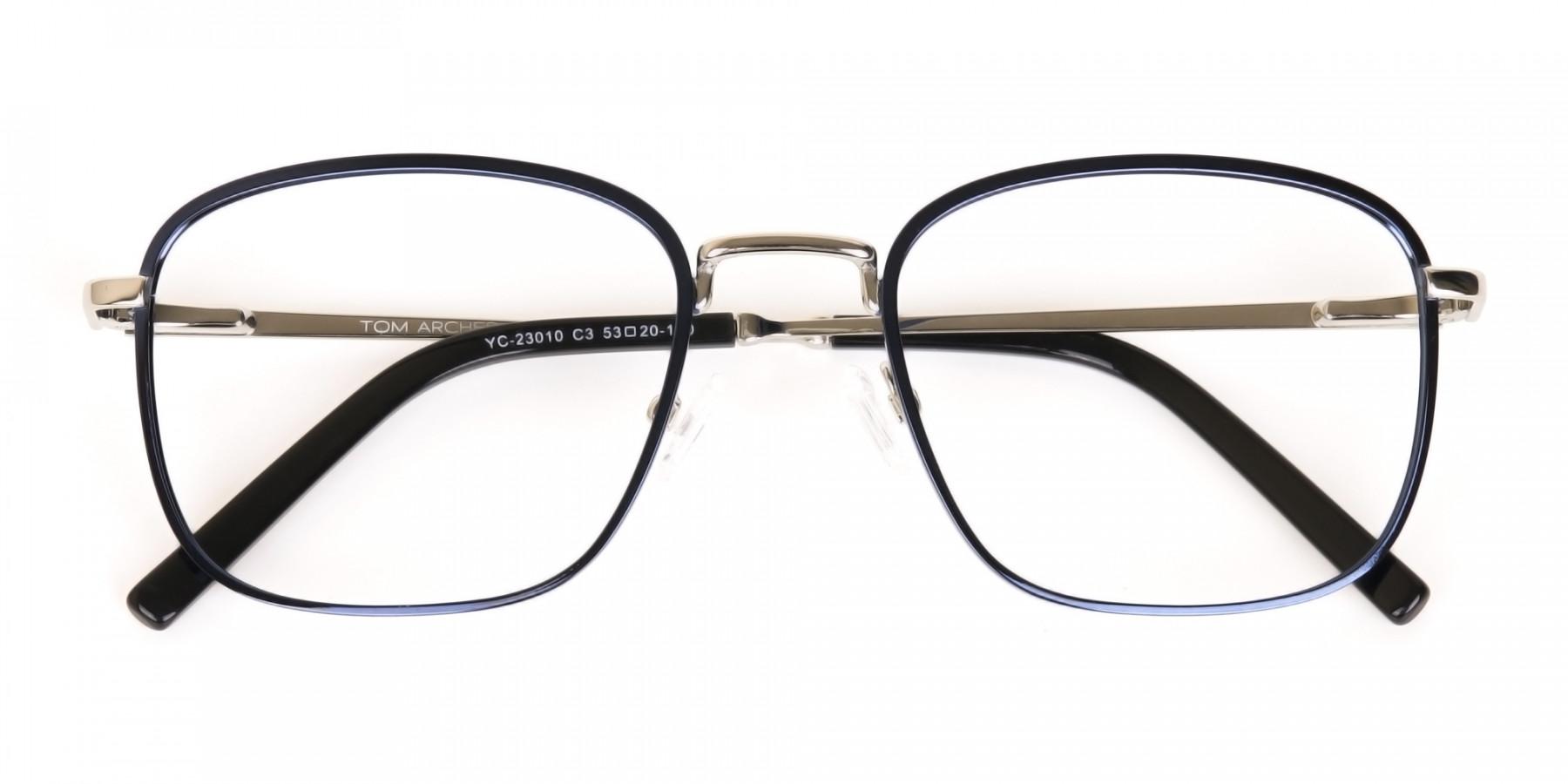 Silver Blue Metal Wayfarer Glasses Frame Unisex-1