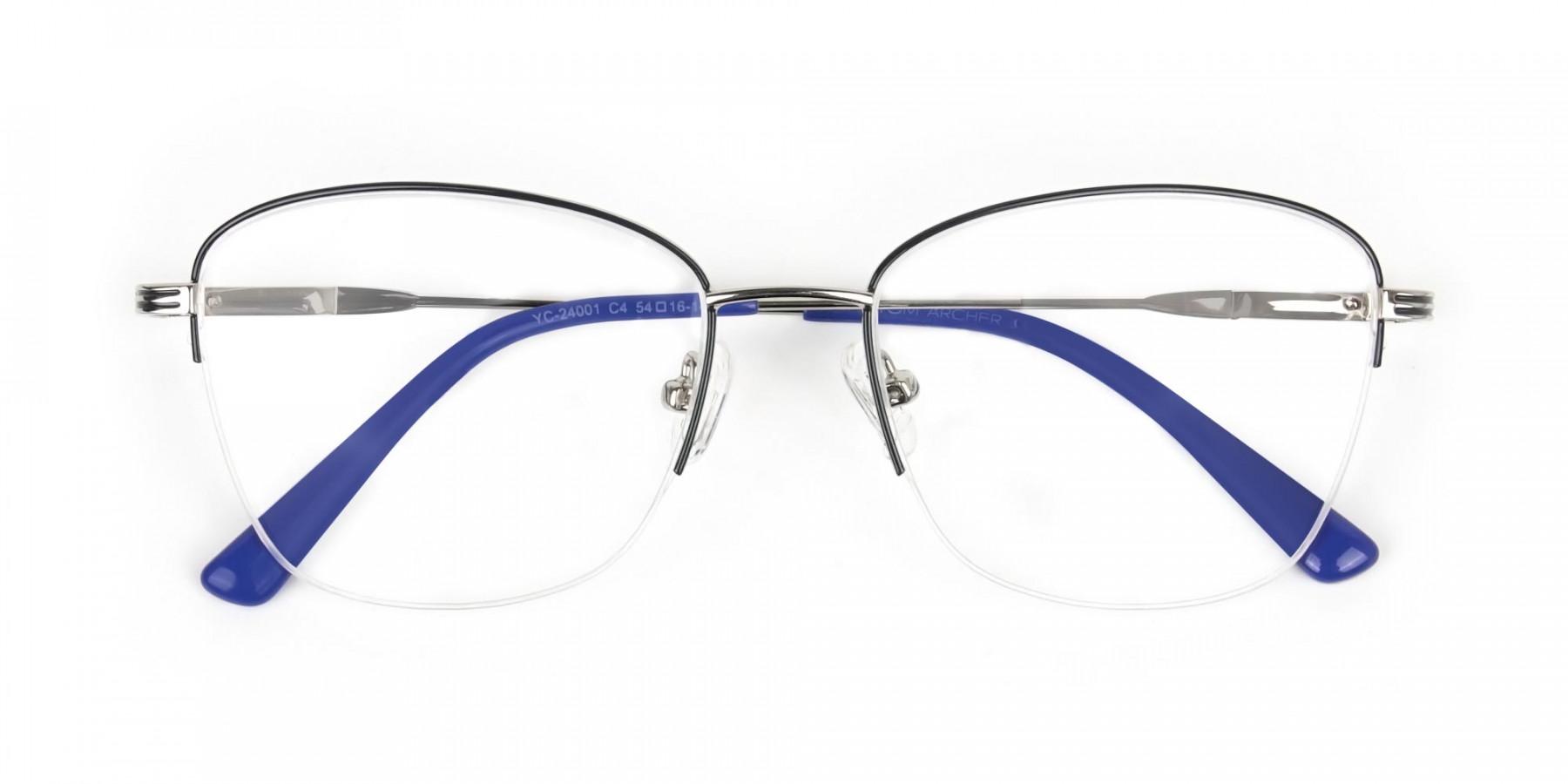 Silver Dark Navy Blue Half Cat Glasses - 1