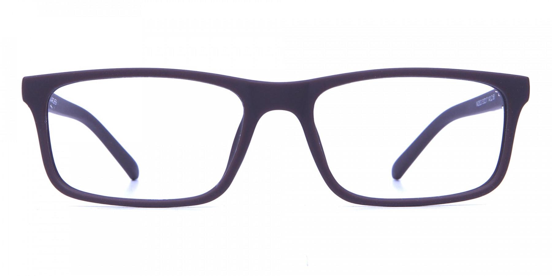 Brown Rectangular Wayfarer Glasses